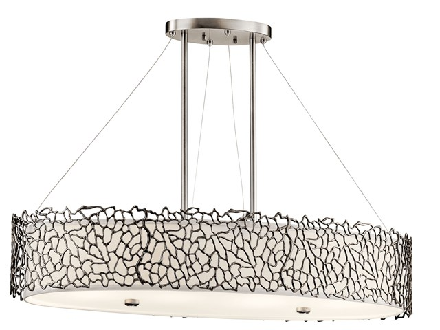 Silver Coral 4 Light Oval Chandelier / Pendant Classic Pewter