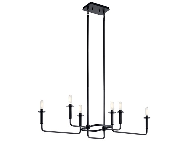 Alden Linear 6 Light Chandelier Black