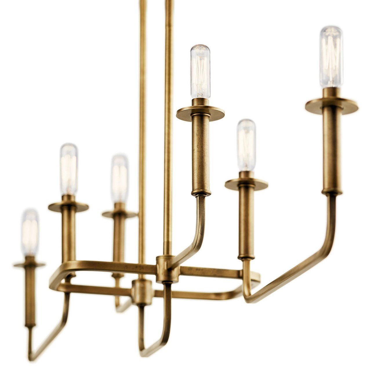 Alden 6 Light Linear Chandelier Natural Brass