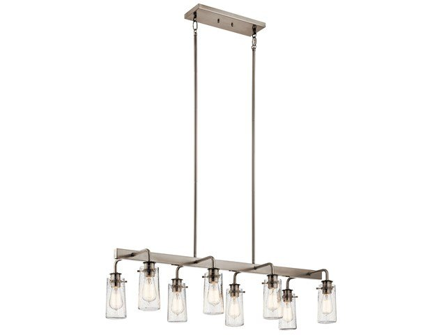 "Braelyn™ 11.25"" 8 Light Linear Chandelier with Clear Seeded Glass Classic Pewter"