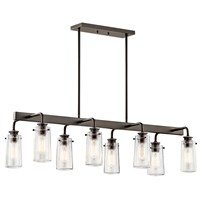 "Braelyn 11.25"" 8 Light Linear Chandelier with Clear Seeded Glass Olde Bronze®"