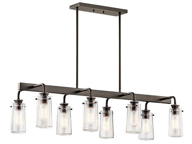 "Braelyn™ 11.25"" 8 Light Linear Chandelier with Clear Seeded Glass Olde Bronze®"