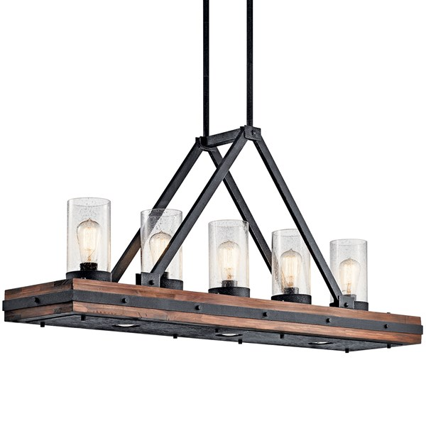 "Colerne™ 46.5"" 8 Light Linear Chandelier Clear Seeded Glass Auburn Stained"