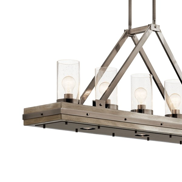 "Colerne™ 46.5"" 8 Light Linear Chandelier with Clear Seeded Glass Classic Pewter"