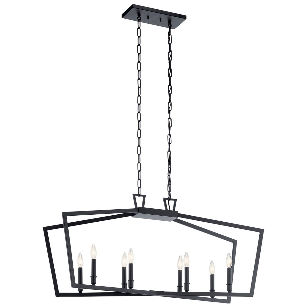 Www Kichler: Abbotswell™ 8 Light Linear Chandelier Black