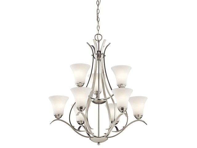 Keiran™ 9 Light Chandelier with LED Bulbs Brushed Nickel
