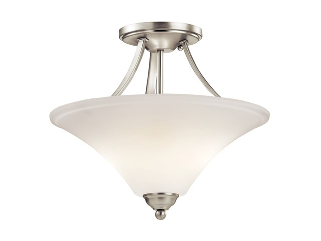 Keiran™ 2 Light Semi Flush with LED Bulbs Brushed Nickel