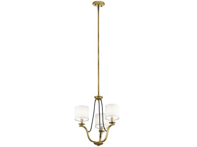 "Thisbe™ 18"" 3 Light Mini Chandelier Natural Brass"
