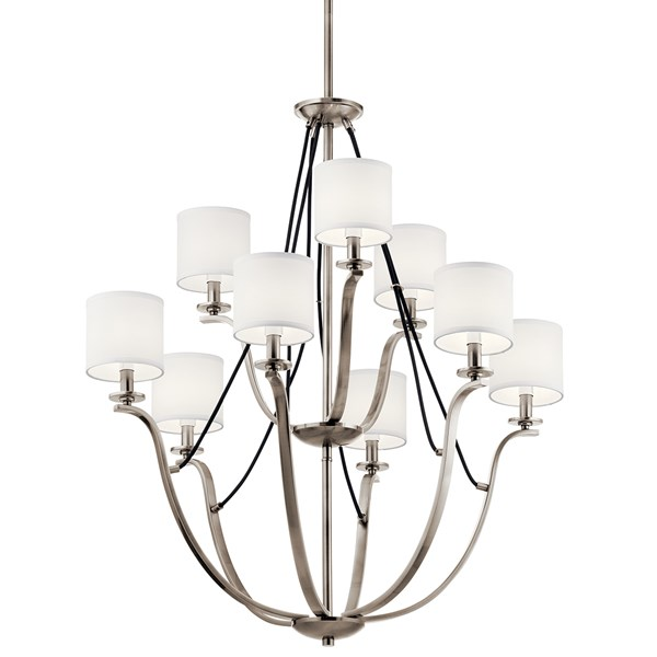 "Thisbe™ 33"" 9 Light 2 Tier Chandelier Classic Pewter"