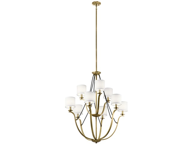 "Thisbe™ 33"" 9 Light  2 Tier Chandelier Natural Brass"