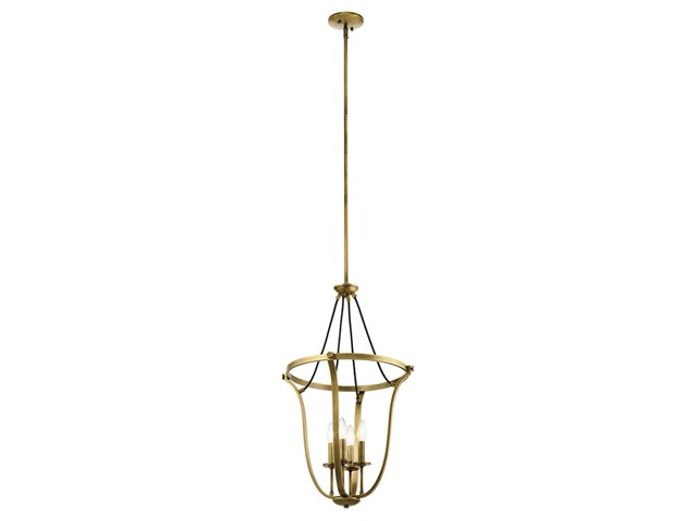 "Thisbe™ 29.25"" 4 Light Foyer Pendant Natural Brass"