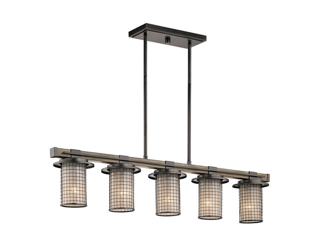 Ahrendale™ 5 Light Linear Chandelier Anvil Iron™