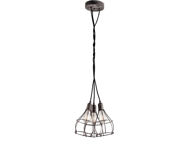 Industrial Cage 3 Light Pendant Weathered Zinc
