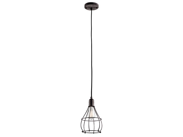 Industrial Cage 1 Light Mini Pendant Weathered Zinc