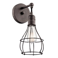 Industrial Cage 1 Light Wall Sconce Weathered Zinc