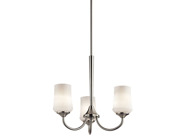 Aubrey 3 Light Chandelier with LED Bulbs Brushed Nickel