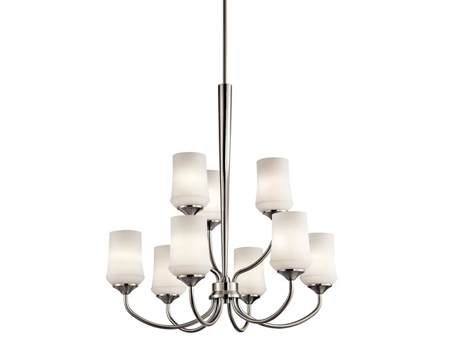 Aubrey™ 9 Light Chandelier with LED Bulbs Brushed Nickel
