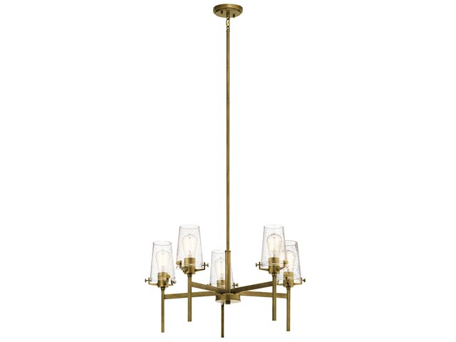 "Alton 27"" 5 Light Chandelier Natural Brass"