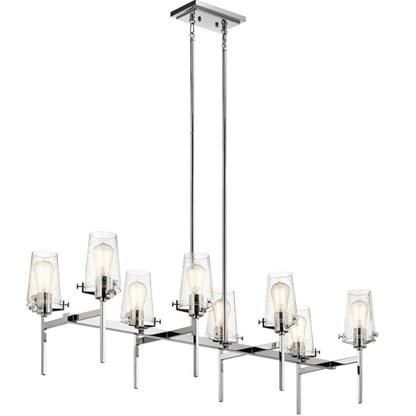 "Alton 46"" 8 Light Linear Chandelier Chrome"