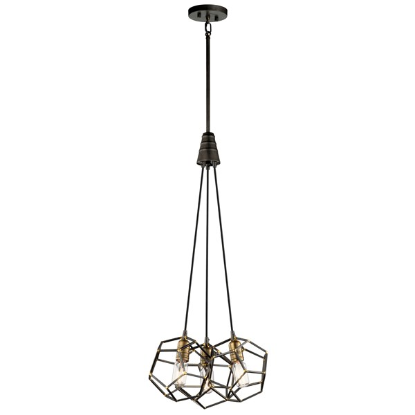 Rocklyn™ 3 Light Foyer Chandelier Raw Steel