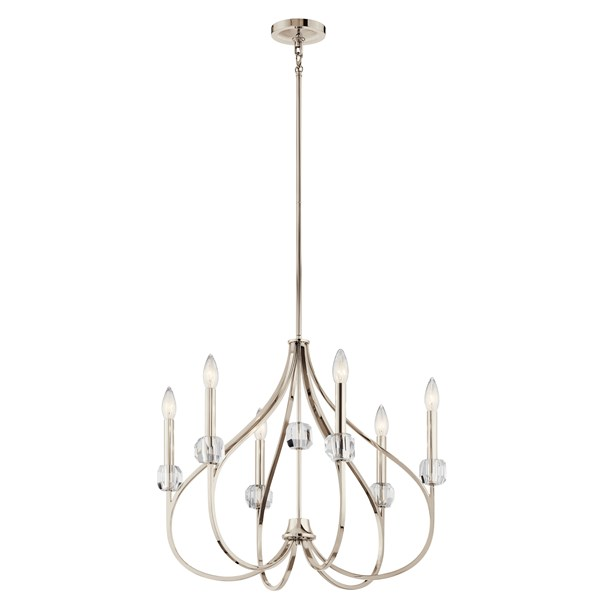 Eloise 6 Light Chandelier Polished Nickel