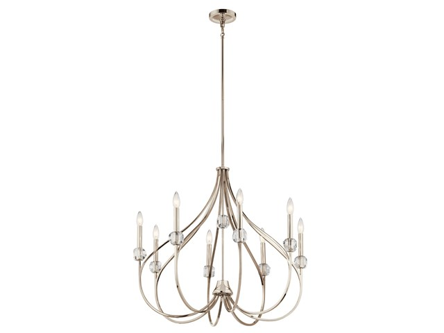 Eloise 8 Light Chandelier Polished Nickel