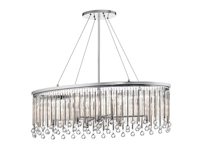 Piper 6 Light Oval Chandelier Chrome