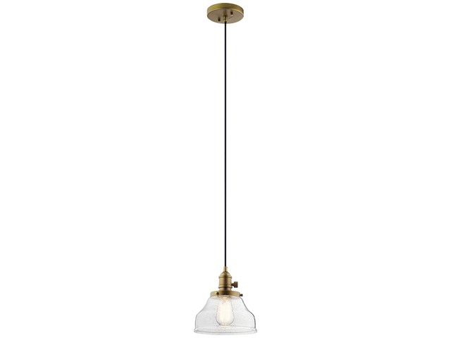 Avery 1 Light Bell Mini Pendant Natural Brass