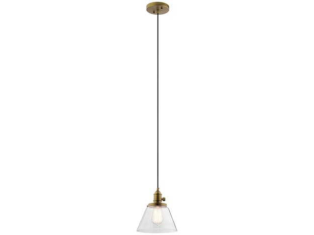 Avery 1 Light Cone Mini Pendant Natural Brass
