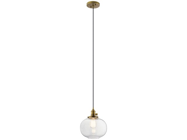 "Avery 9.75"" 1 Light Mini Pendant Natural Brass"