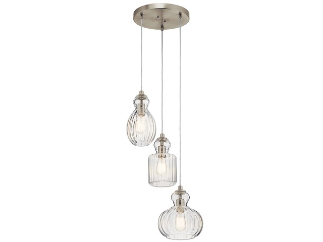 Riviera 3 Light Pendant Brushed Nickel