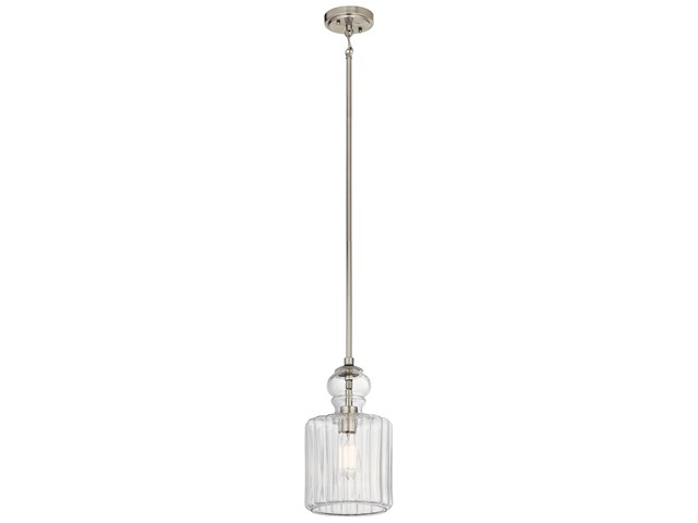 Riviera 1 Light Pendant Brushed Nickel