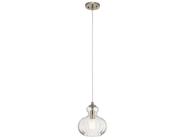 "Riviera 8.75"" 1 Light Mini Pendant Brushed Nickel"