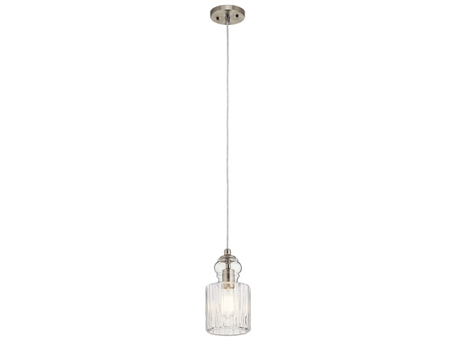 "Riviera 5.75"" 1 Light Mini Pendant Brushed Nickel"