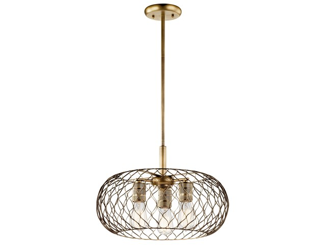 Devin 3 Light Pendant Natural Brass