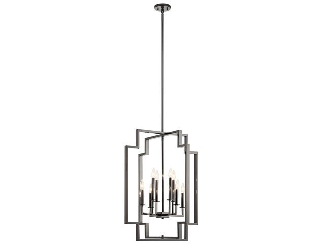 "Downtown Deco 32.25"" 8 Light  Foyer Chandelier Midnight Chrome"