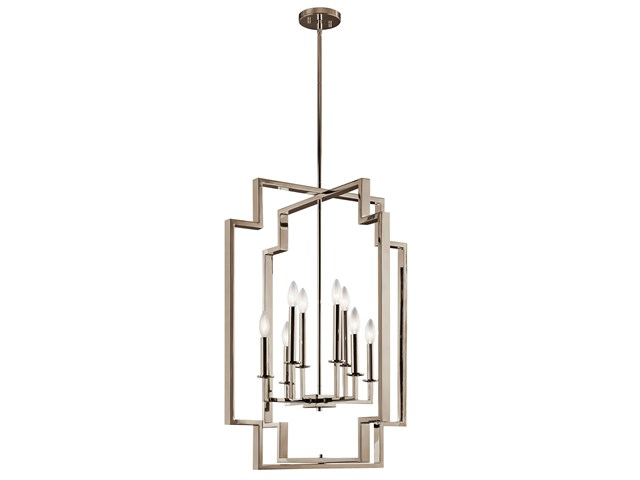 Downtown Deco 8 Light Foyer Chandelier Polished Nickel