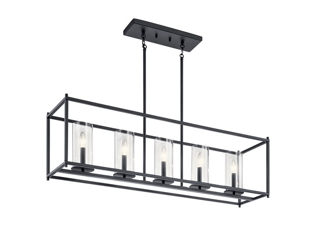 Crosby 5 Light Linear Chandelier Black