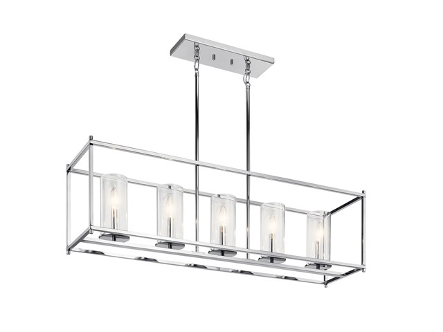"Crosby 13.75"" 5 Light Linear Chandelier with Clear Glass Chrome"