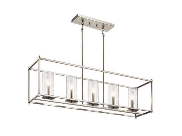 "Crosby 13.75"" 5 Light Linear Chandelier with Clear Glass Brushed Nickel"