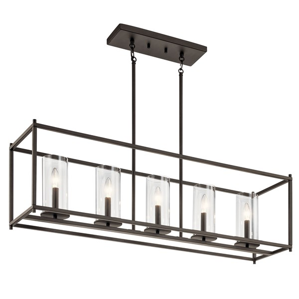 """Crosby 13.75"""" 5 Light Linear Chandelier with Clear Glass Olde Bronze®"""