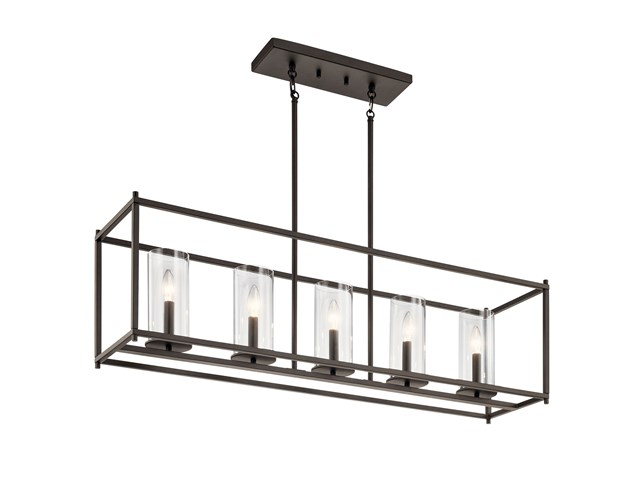 "Crosby 13.75"" 5 Light Linear Chandelier with Clear Glass Olde Bronze®"