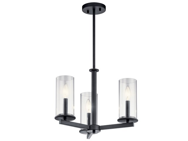 Crosby 3 Light Convertible Chandelier Black
