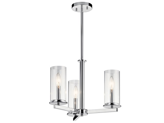 "Crosby 13.75"" 3 Light Convertible Chandelier with Clear Glass Chrome"