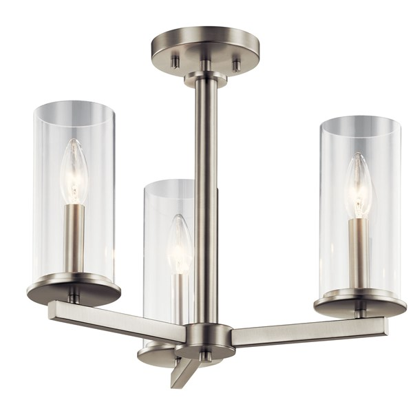 Crosby 3 Light Convertible Chandelier Brushed Nickel