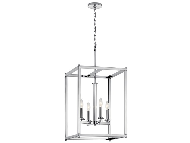 "Crosby 31"" 4 Light Foyer Pendant Chrome"