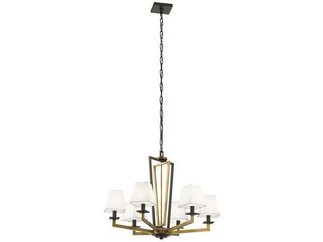 "Dancar™ 28"" 6 Light Chandelier Natural Brass"