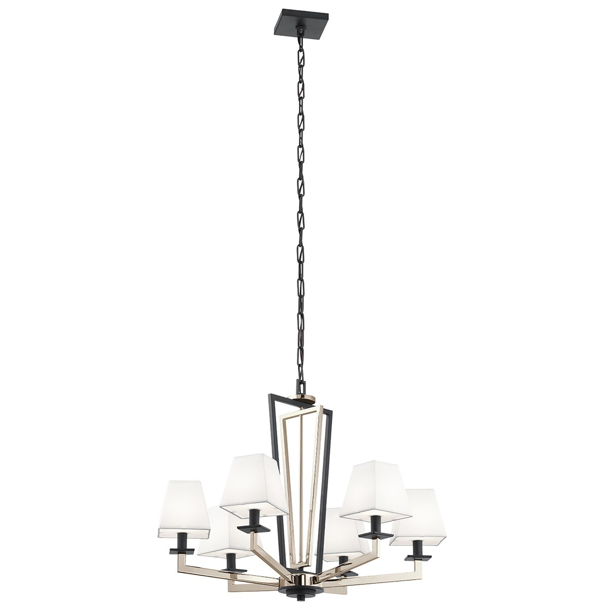 "Dancar 28"" 6 Light Chandelier Polished Nickel"