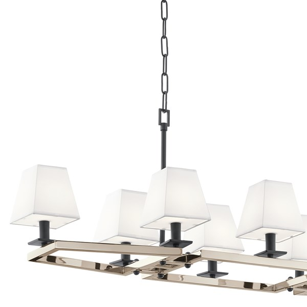 "Dancar™ 48"" 8 Light Linear Chandelier Polished Nickel"