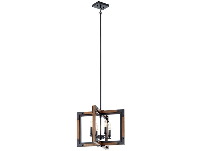 "Marimount™ 14"" 4 Light Convertible Chandelier/Semi Flush with Clear Glass Auburn Stained"
